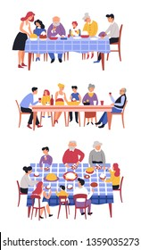 Festive meal family dinner table and dishes holiday isolated characters vector kitchen tablecloth drinks and food mother and father grandparents and children aunt and uncle brothers and sister.