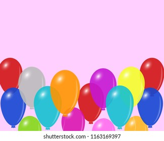 Festive mood vector background with colorful balloons, eps 10. Empty space for the text.