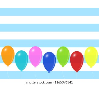 Festive mood vector design with colorful balloons, on blue and white striped background, eps 10. Empty space for the text.
