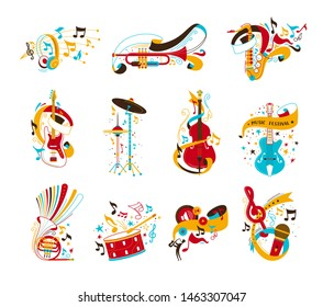 Festive musical instruments flat vector illustrations set. Electric guitar, drums with confetti and serpentine. Modern headphones, vintage microphone isolated cliparts. Jazz concert, music party