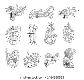 Festive musical instruments outline vector illustrations set. Cello, drum cymbals with confetti and serpentine line art. Modern headphones, vintage microphone isolated cliparts. Jazz concert