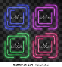 Festive neon square light effect set on transparent background. Night shining street bar sign, modern glowing icon frame for web-sites, logos. Illuminated maze shape banner for events, parties.
