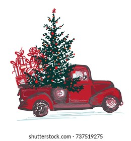 red truck with fir tree decorated red balls isolated on
