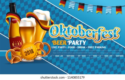 Festive oktoberfest poster with beer barrel sausages wheat mug and party flags on wooden background vector illustration