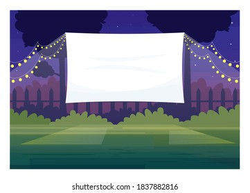 Festive outdoor cinema screen semi flat vector illustration. Open air decorated place with lanterns. Film premiere outside. Public park. Outdoors movie night 2D cartoon scene for commercial use - Shutterstock ID 1837882816