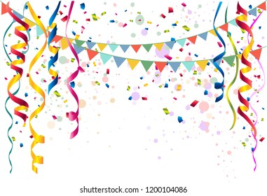 Festive party background of coiled streamers, confetti, form top down and  colored balloons and flag garlands on white background  with copy space for party and festival usage