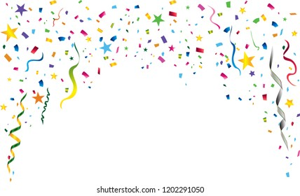 Festive party background of coiled streamers, star, colorful confetti form top down on white background  with copy space for party and festival usage. Concept for celebration, carnival, party.