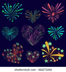 Festive patterned firework in the shape of a heart.