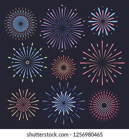 Festive patterned firework with stars and sparks. Firework on dark background. Vector illustration