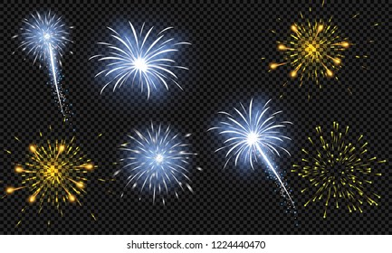 Festive patterned fireworks in the city, bursting in various forms, sparkling pictograms Abstract. New Year and birthdays. Vector illustration