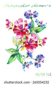 "Festive picturesque bouquet  flowers drawn with watercolor  flowers.Album""New bouquets by a holiday from water color flowers"".Album ""Vector bouquets by holidays from the picturesque drawn flowers."""