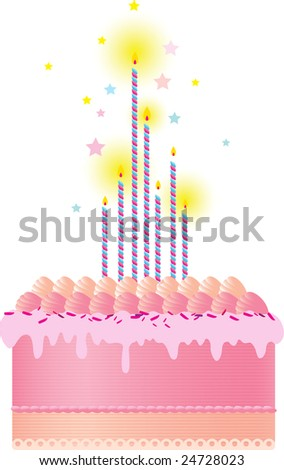 A Festive Pink Cake With Candles Meringues And Cream Decoration Set Against White Background