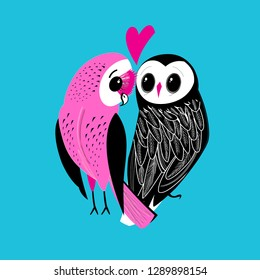 Festive postcard of big owls in love among hearts on a light background