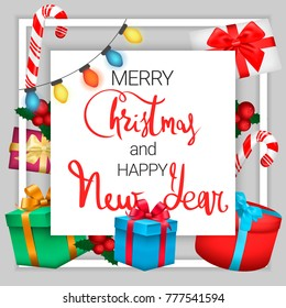 festive postcard merry christmas and happy new year square background with gift boxes lights