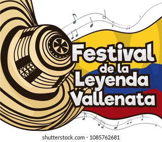 Festive poster with traditional vueltiao hat, Colombia flag and musical notes for Vallenato Legend Festival (written in Spanish).