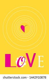 Festive poster with the word love and hearts on a bright background. Design template for Valentine's Day.