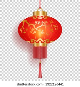 Festive Red Chinese lantern with gold flower sakura patterns and fringe isolated on transperent background, round shape, red holiday paper lamp, vector illustration