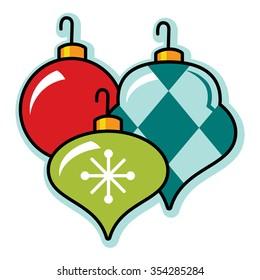 Festive retro Christmas ornament grouping, illustration