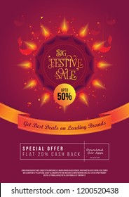 Festive Sale, Offer Poster Design Layout Template with 50% Discount Tag