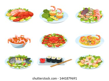 Festive seafood dishes food cooked modern delicacies with a presentation on the plate. Delicious dishes: salads and soups of shrimp, crab, mussels, baked fish, rolls, sushi, octopus. Cartoon vector.