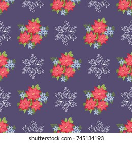 Festive seamless pattern in bright poinsettia and snowflakes. Regular order. Holiday floral background for wallpapers, textile, wrapping paper. Christmas millefleurs.