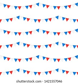 Festive seamless pattern of bunting flags, national colors balloons, American Independence Day 4th of July. Vector