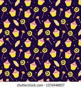 Festive seamless pattern with candy, goody, cakes, muffins in flat style on dark background. Birthday endless repeat texture. Surface pattern design. Vector illustration