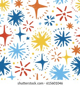 festive seamless pattern with hand drawn holiday lights, colorful sketch stars on white background, vector illustration