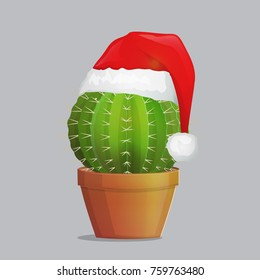 Festive season costume dressed up cactus plant in pot, christmas new year santa hat over needle succulent plant. Greeting festive illustration.