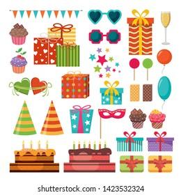 Festive set. Birthday, party, holiday. Vector