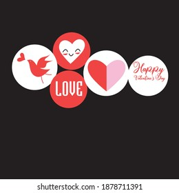 Festive set of hearts and inscriptions for Valentine's Day. Set of Valentines on a dark background