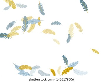 Festive silver gold feathers vector background. Soft plumelet native indian ornament. Plumage trendy fashion shower decor. Flying feather elements airy vector design.