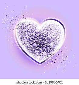 Festive sparkle ultraviolet heart. Happy valentines day. Glittering heart on a lavender background. Romantic design element. Luxury elegant shape with shining heart. Vector. Brilliant heart. EPS10
