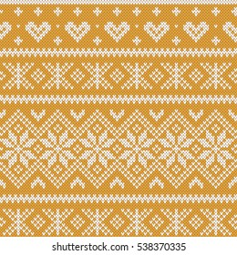 Festive Sweater Fairisle Design. Gold Seamless Knitted Pattern