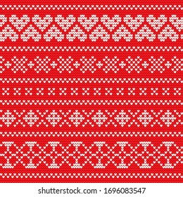 Festive Sweater Fairisle Design. Red Seamless Knitted Pattern. Fair isle seamless pattern. Vintage sweater ornament. Christmas knitted ornament set. Woolen cloth, handmade