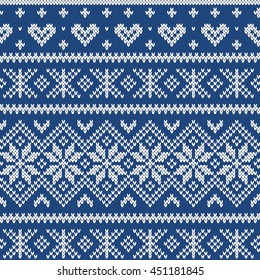 Festive Sweater Fairisle Design. Seamless Knitted Pattern