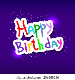 Festive texture happy birthday on blue background. Vector illustration.