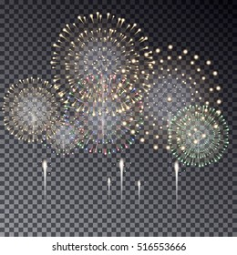 Festive transparent firework bursting in various shapes vector isolated illustration on dark background. Fireworks light effect for your design.