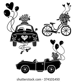 Festive transport with balloons. Cars, bicycle set black silhouettes isolated on white background