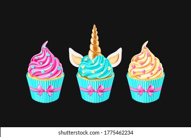 Festive unicorn cupcakes set.  Cake with golden horn and cream on black background