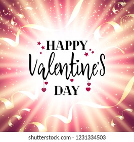 Festive Valentines day vector background greeting card with glow, shiny, stars, ribbons, hearts and text