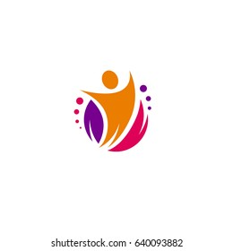 Festive vector dynamic logo. Colorful abstract form with a people, leaf and circles. Cheerful and entertaining illustration with the image of a leader and a happy person