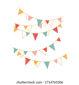 festive vector garlands for a party. Multi-colored flags, decorations for decorating the room. Isolated on a chalk background: green, yellow, red, pink.