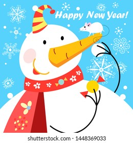 Festive vector greeting card with a big snowman and a mouse on a blue background. Sample design for poster or poster.