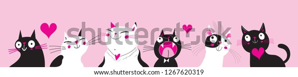 Festive vector greeting card with funny cats in love on a pink background. Flat cartoon design for Valentines Day.