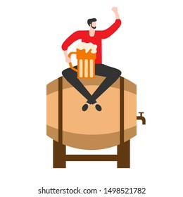 Festive vector illustration with man, beer, barrel, beer mug. Beer party concept. Munich Beer Festival Oktoberfest. Design for web page, presentation, print.