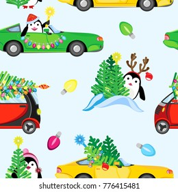 Festive vector seamless pattern. Machines with Christmas trees and compositions of penguins in the forest