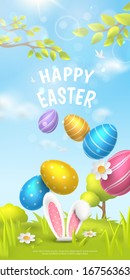 """Festive vertical banner with title """"Happy Easter"""" and spring scene with falling realistic colorful eggs and 3D fur ears of bunny on meadow. Vector holiday background with cartoon landscape."""