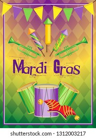 Festive vertical vector illustration for Mardi Gras holiday. Tricolor gradient and rhombuses on background. Two-color frame and garlands of flags