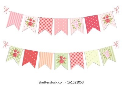 Festive vintage garlands with roses in shabby chic style isolated on white background